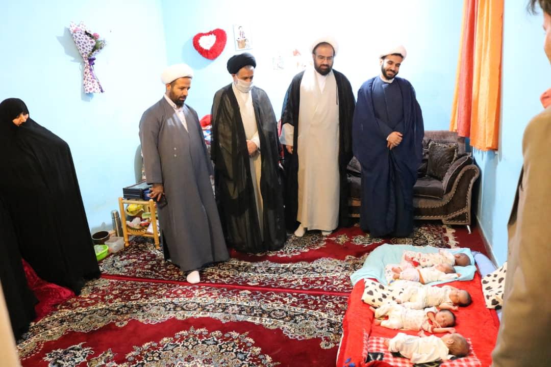 دیدار امام جمعه و روحانیون گچساران با خانواده پنج قلوها